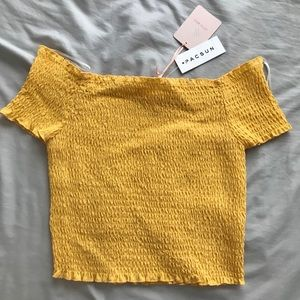 PacSun Yellow Off the Shoulder Crop Top